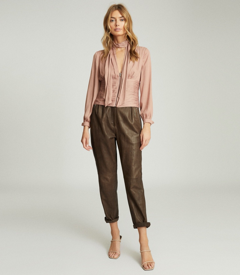 REISS Skye Pussy Bow Fitted Blouse $245