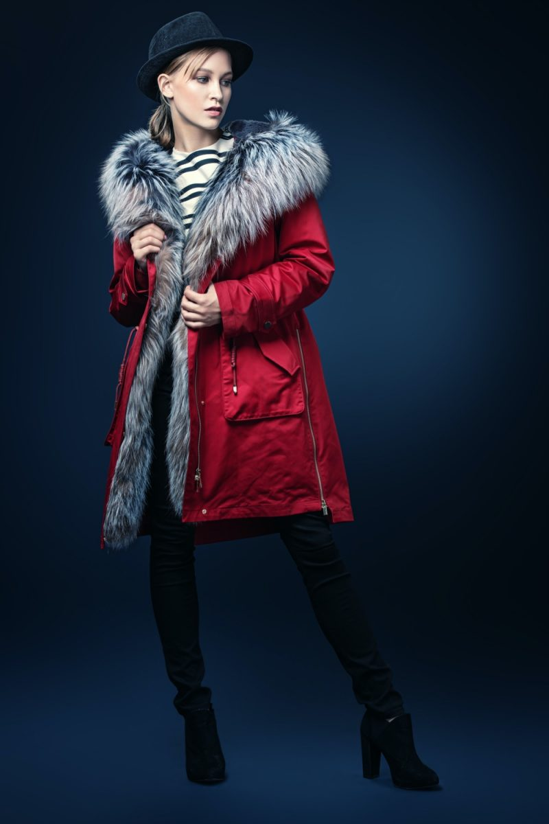 Red Down Jacket with Fur