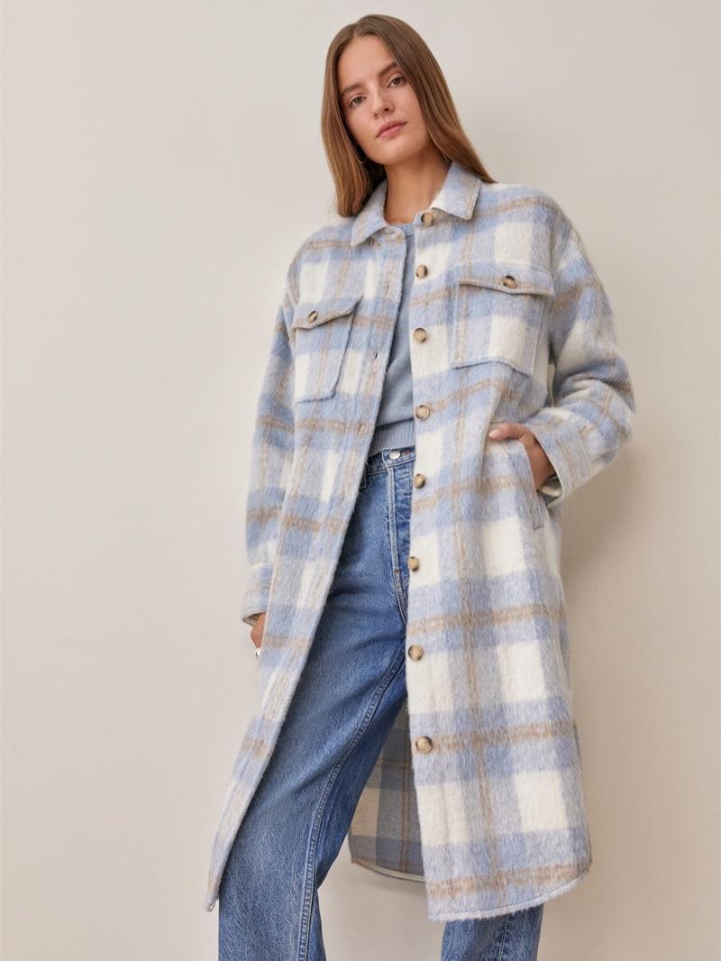 Reformation Ainslie Jacket in Light Blue Plaid $268