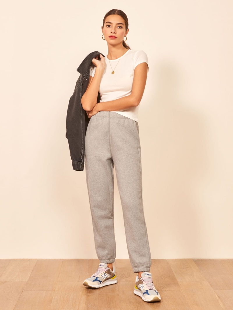Reformation Classic Sweatpant in Heather Grey $68
