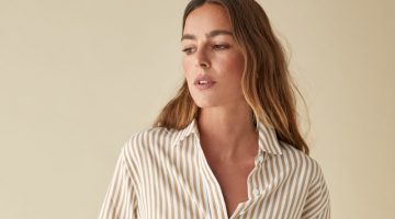 Reformation Parker Relaxed Shirt in Desert Stripe $78