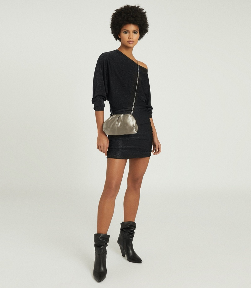 Reiss Anna Metallic Knitted Dress $345