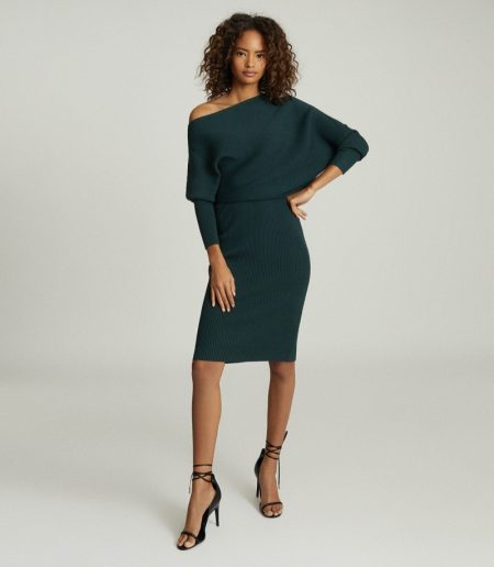 Reiss Lara Off-the-Shoulder Knitted Dress in Green $345