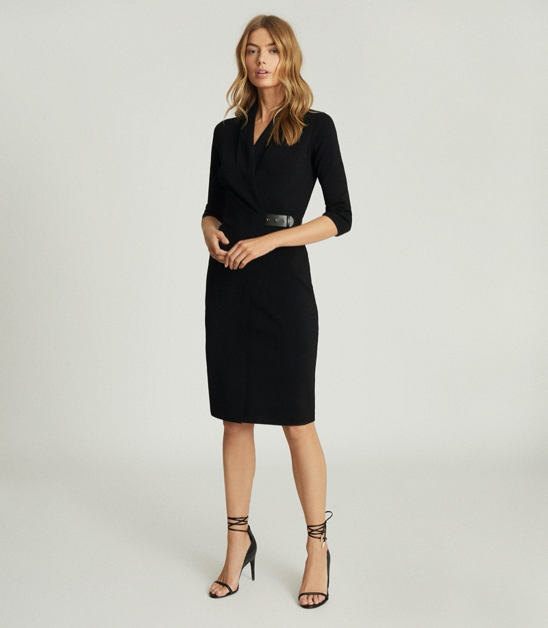 Reiss Luisa Knitted Wrap Dress in Black $370