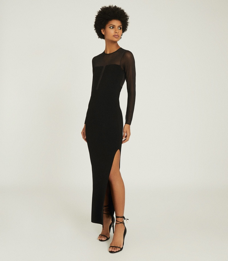 Reiss Sabrina Maxi Dress with Semi Sheer Panelling $370