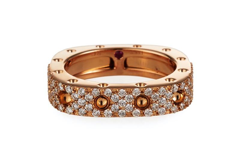 Roberto Coin Pois Moi 18k Rose Gold Square Ring Diamonds