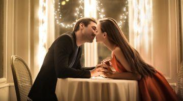 Romantic Couple Kiss Date Dinner Fairy Lights