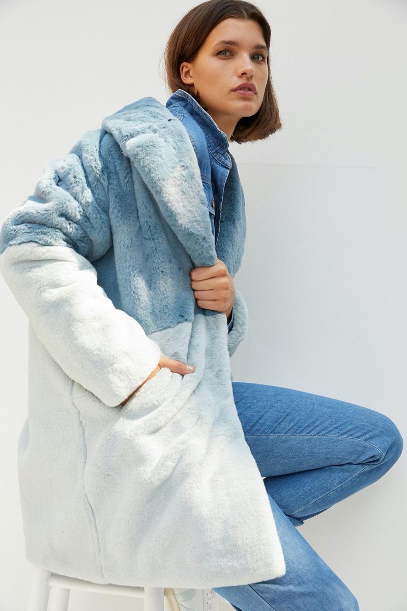 Ruby + Ed Patti Colorblocked Faux Fur Coat $238