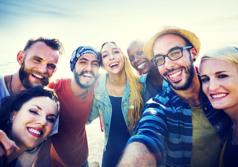 Smiling Group Friends Selfie Beach