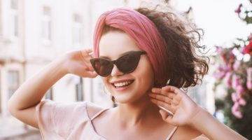Smiling Model Cat Eye Sunglasses Pink Headband