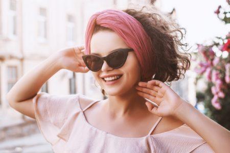 Smiling Model Cat Eye Sunglasses Pink Headband