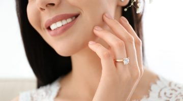 Smiling Woman Diamond Ring Gold Band