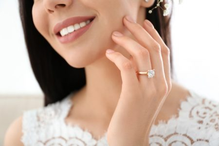 Smiling Woman Diamond Ring Gold Band