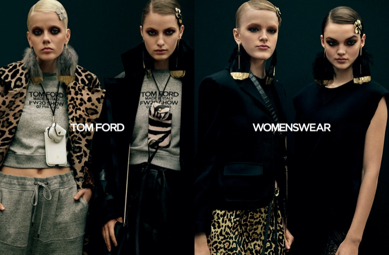 Marjan Jonkman, Felice Noordhoff, Hannah Motler, and Shayna McNiell pose for Tom Ford fall-winter 2020 campaign.