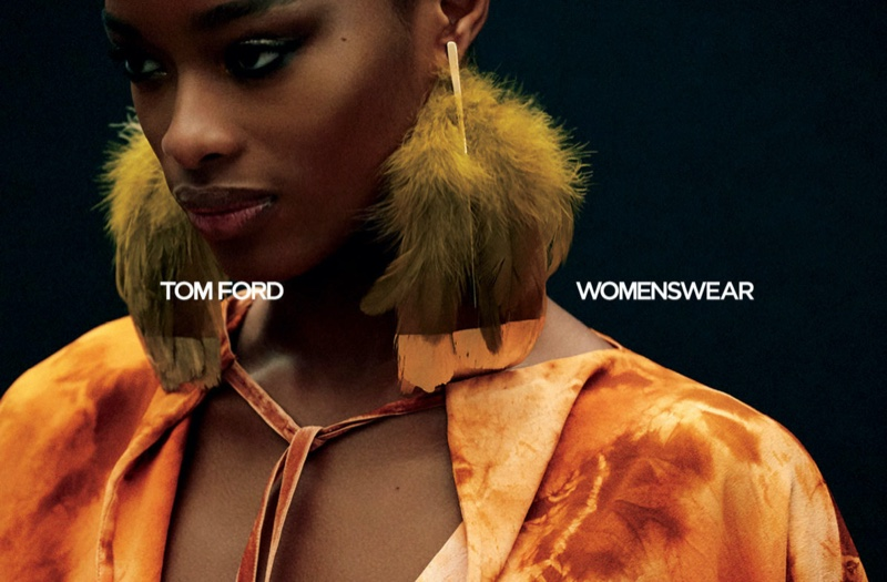 Mayowa Nicholas stars in Tom Ford fall-winter 2020 campaign.