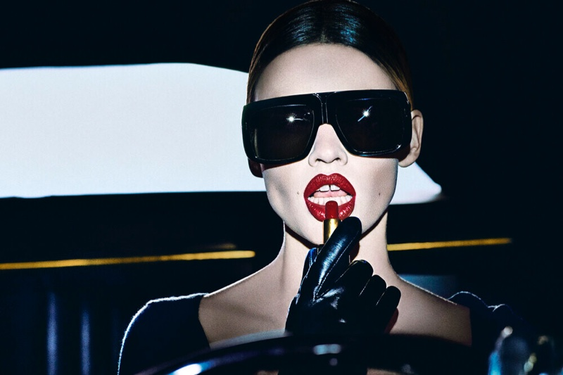 Lara Stone stars in Tom Ford Most Wanted lipstick campaign.