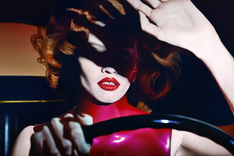 Lara Stone fronts Tom Ford Most Wanted lipstick campaign.