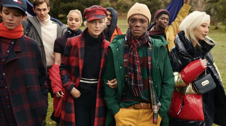 Dilone, Kit Butler, Jasmine Sanders, Carolyn Murphy, Alton Mason, Ralph Souffrant, and Soo Joo Park pose for Tommy Hilfiger fall-winter 2020 campaign.