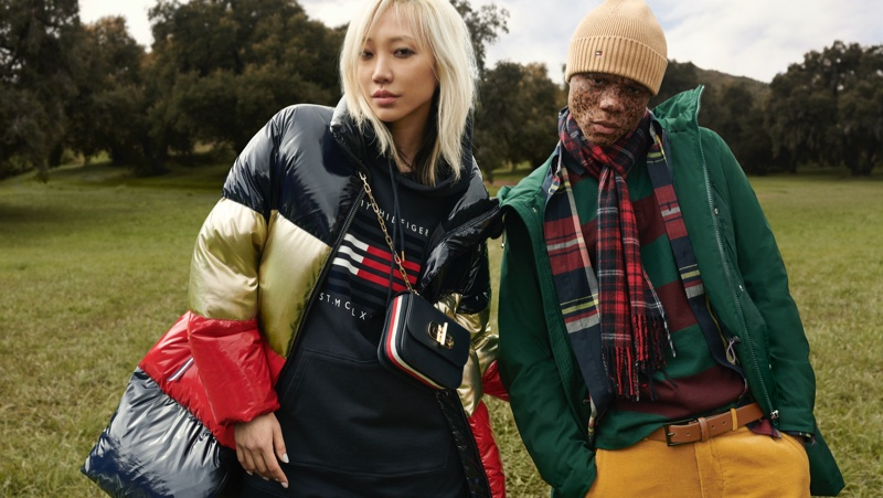 Soo Joo Park poses with Ralph Souffrant for Tommy Hilfiger fall-winter 2020 campaign.