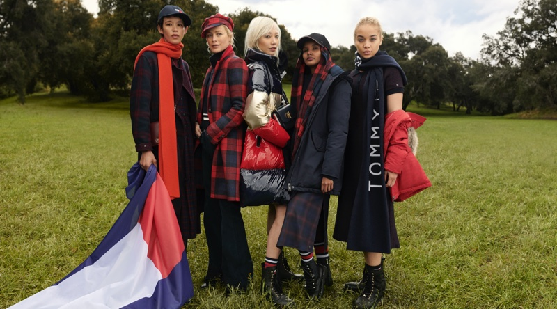 Dilone, Carolyn Murphy, Soo Joo Park, Halima Aden, and Jasmine Sanders front Tommy Hilfiger fall-winter 2020 campaign.
