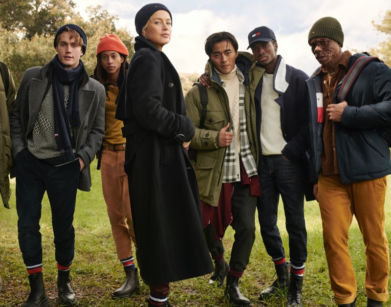 Carolyn Murphy poses with male models for Tommy Hilfiger fall-winter 2020 campaign.