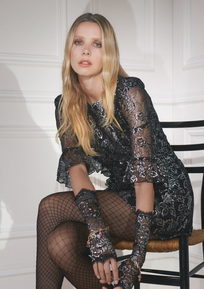 Greta Bellamacina poses for The Vampire's Wife x H&M collaboration.