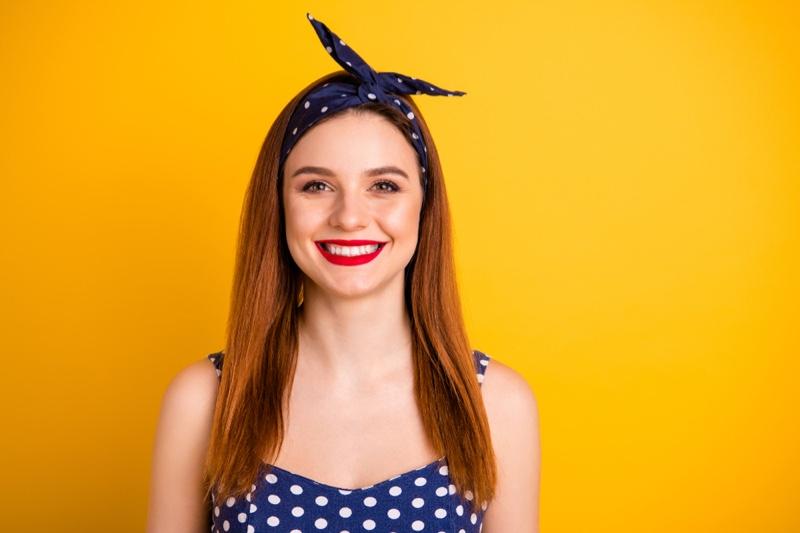 Woman Polka Dot Print Knot Headband Smiling