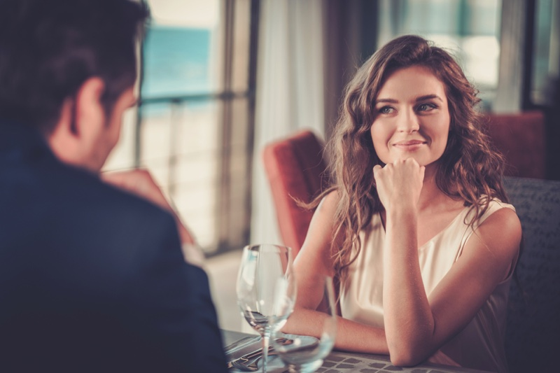 Woman Smiling Date Table Restaurant