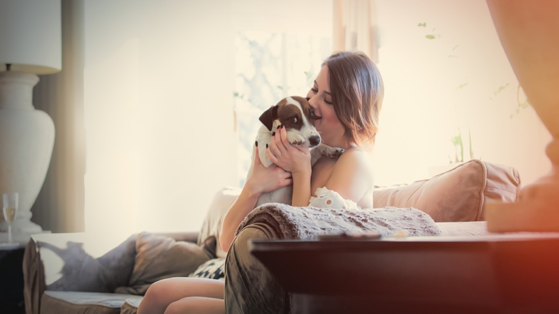Woman Smiling Dog Couch Relaxation