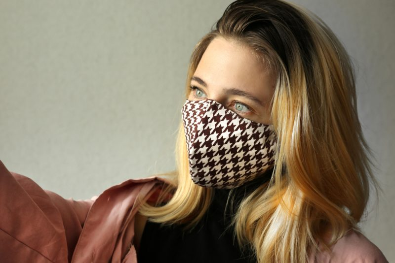 Woman Wearing Houndstooth Face Mask