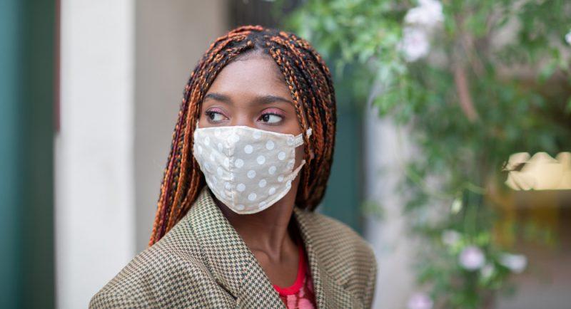 Woman Wearing Polka Dot Face Mask