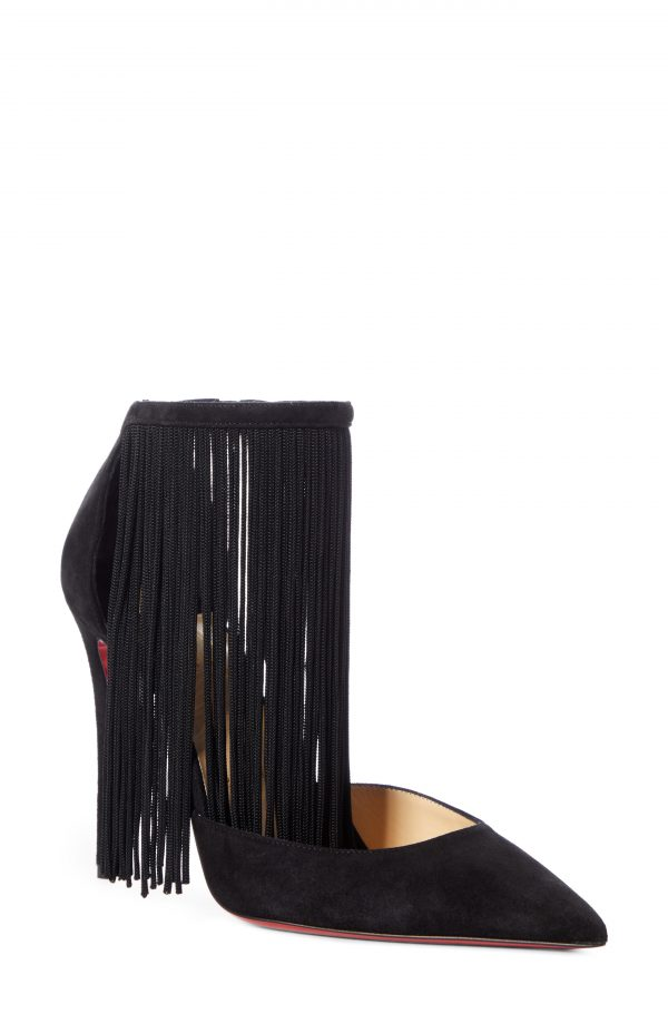Women's Christian Louboutin Courtain Ankle Fringe Pointed Toe Pump, Size 5.5US - Black
