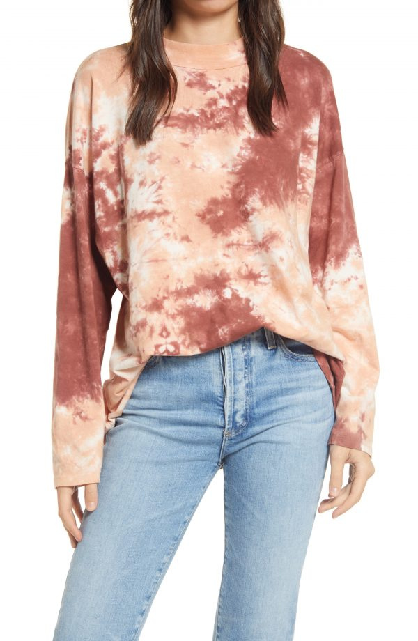 Women's Free People Be Free Tie Dye Oversize Long Sleeve T-Shirt, Size Small - Burgundy