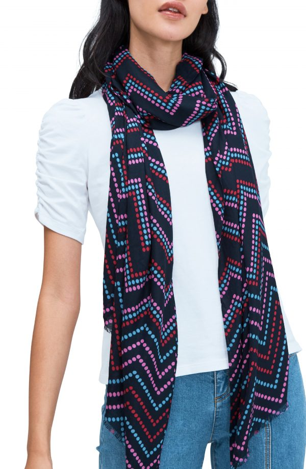 Women's Kate Spade New York Chevron Dot Scarf, Size One Size - Blue