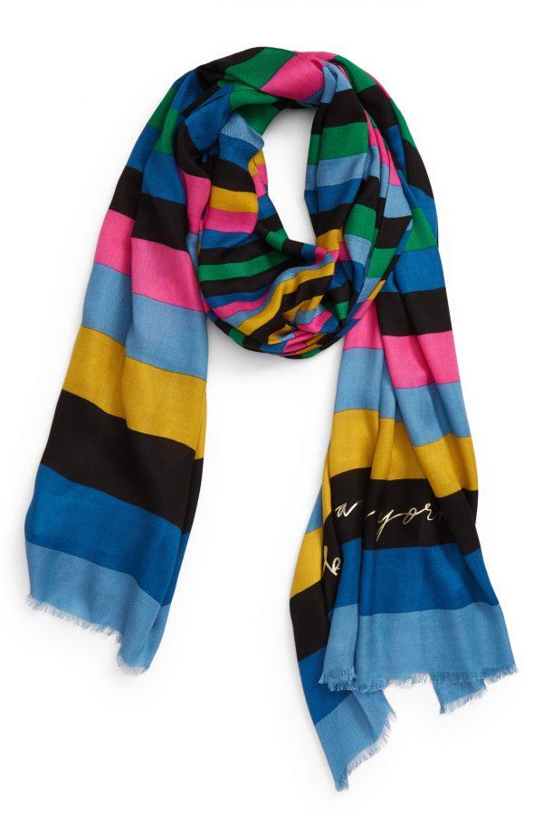 Women's Kate Spade New York Enchanted Stripe Twill Scarf, Size One Size - Blue