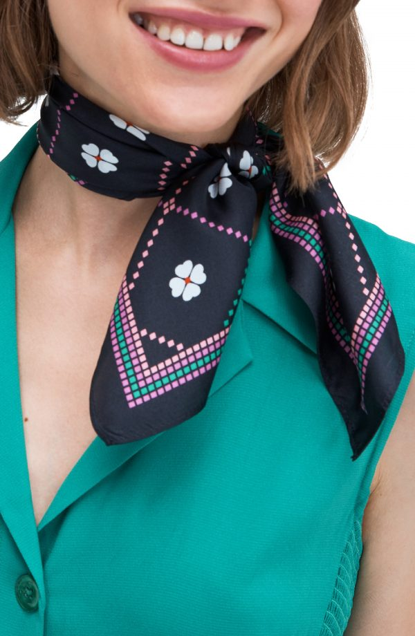 Women's Kate Spade New York Flower Check Silk Twill Bandana, Size One Size - Black