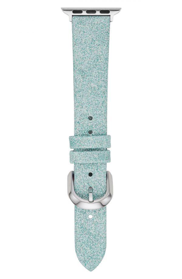 Women's Kate Spade New York Mermaid Glitter Leather Apple Watch Strap