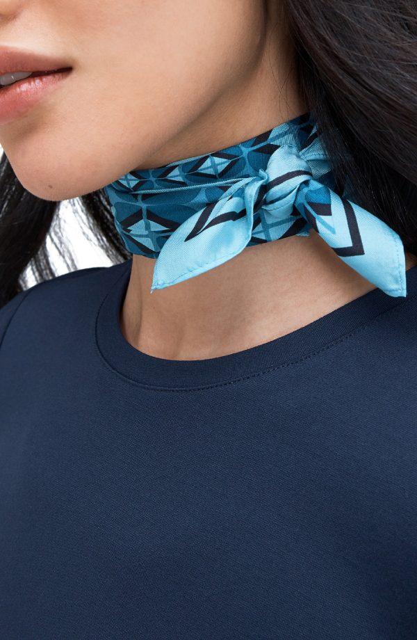 Women's Kate Spade New York Mod Petal Silk Twill Bandana, Size One Size - Blue