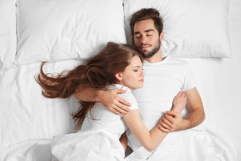 Young Couple Sleeping Bed Pillows
