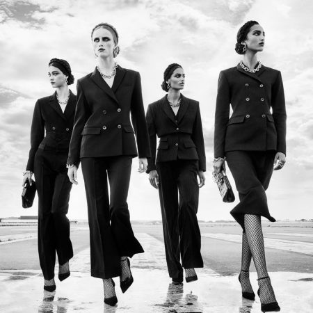 Mika Schneider, Rianne van Rompaey, Sacha Quenby, and Mona Tougaard star in Zara fall-winter 2020 campaign.