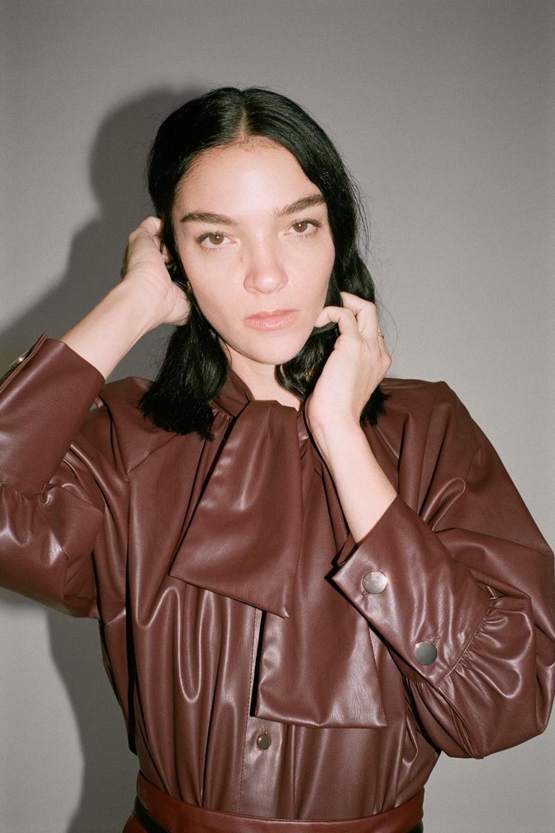 Zara Faux Leather Shirt.