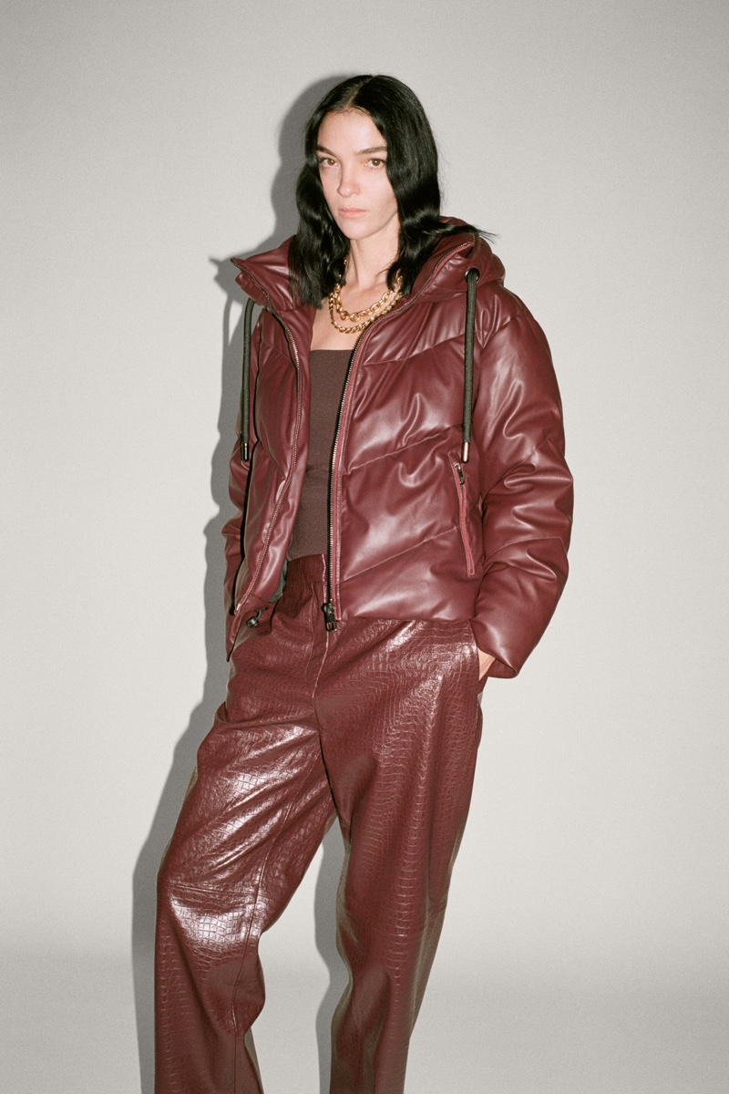 Zara Faux Leather Puffer Jacket and Pants.