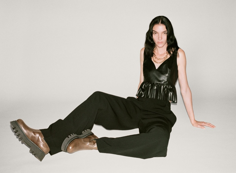 Mariacarla Boscono poses in Zara fall 2020 designs.