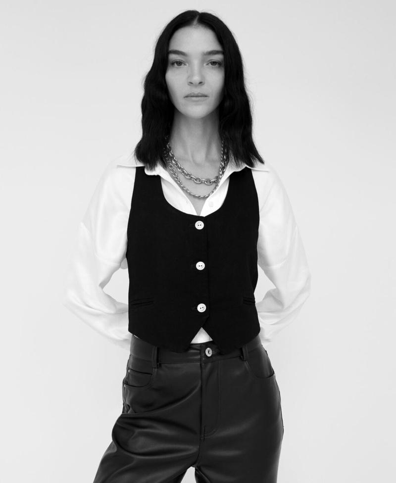 Mariacarla Boscono Models Zara's Faux Leather Looks