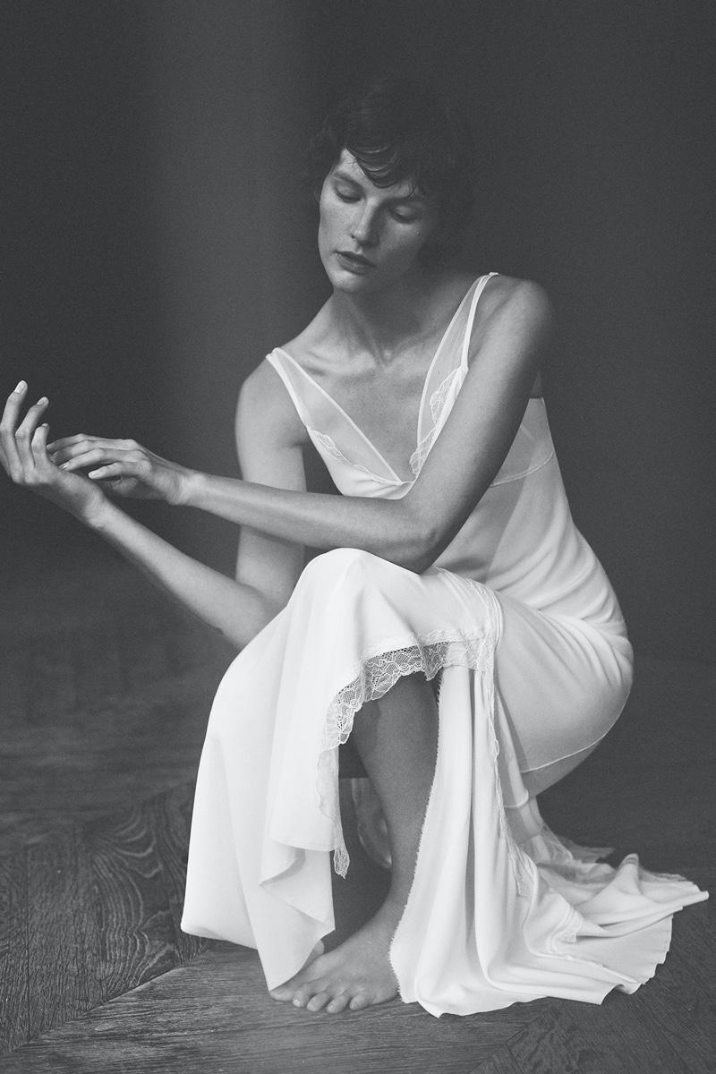 Sara Blomqvist poses in Zara's debut lingerie collection.