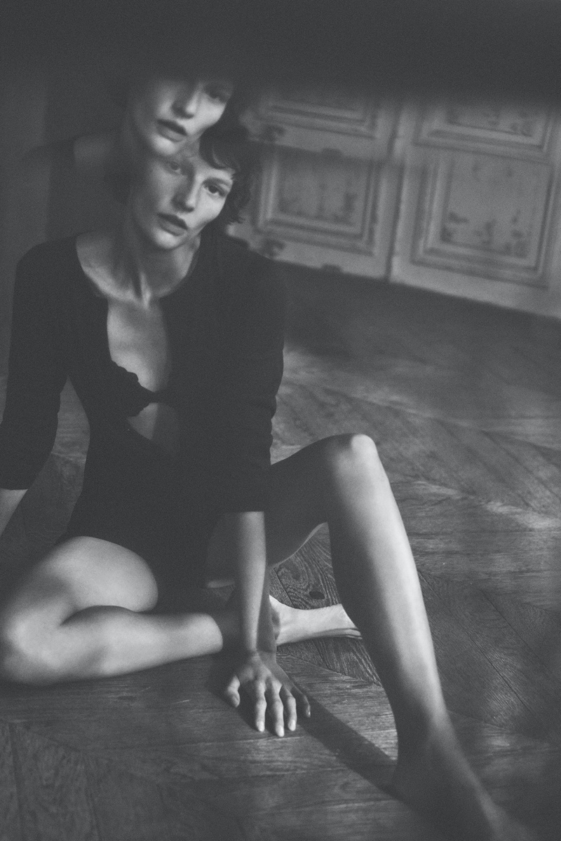 Model Sara Blomqvist wears Zara's debut lingerie collection.