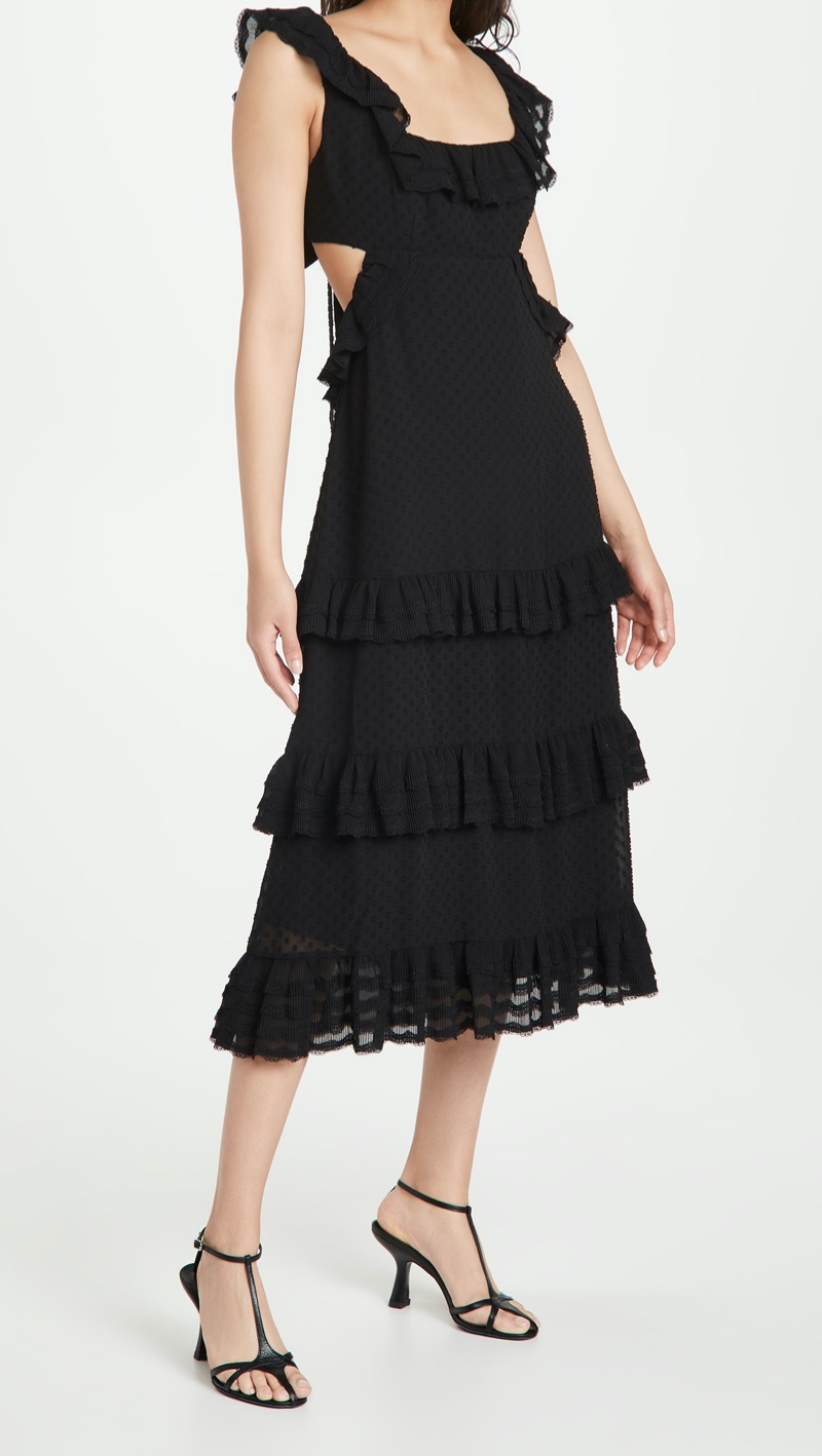 Zimmermann Pleated Lace Flutter Midi Dress $695