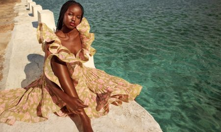 Adut Akech poses for Zimmermann resort 2021 campaign.