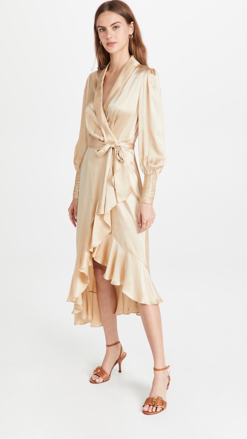 Zimmermann Silk Wrap Midi Dress $650