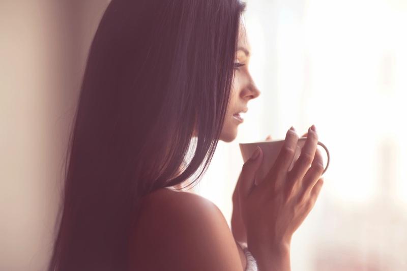 Beautiful Woman Morning Coffee Side Profile